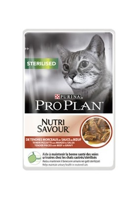 PRO PLAN CAT STERILISED BOEUF SACHETS 24X85G